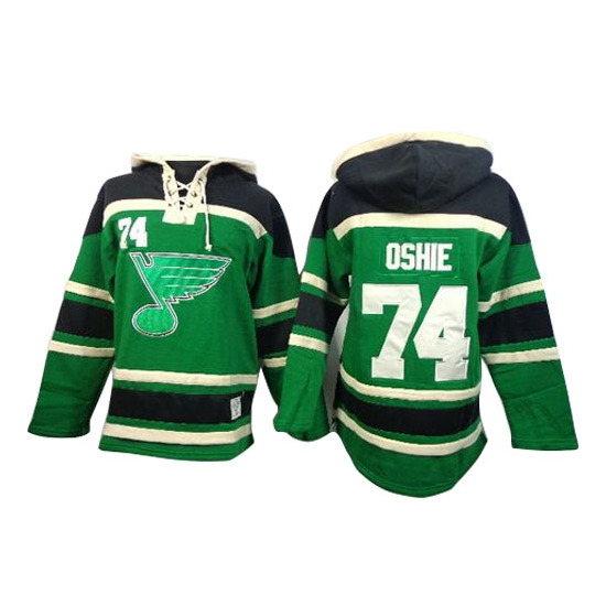 T.J Oshie St. Louis Blues Old Time Hockey Authentic St. Patrick's Day McNary Lace Hoodie Jersey - Green