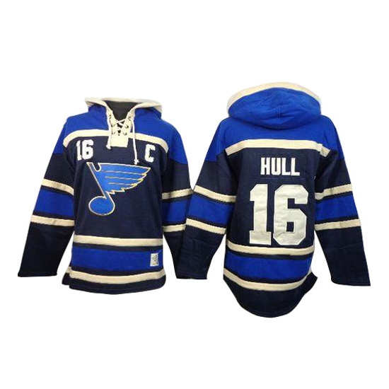 Brett Hull St. Louis Blues Old Time Hockey Authentic Sawyer Hooded Sweatshirt Jersey - Navy Blue