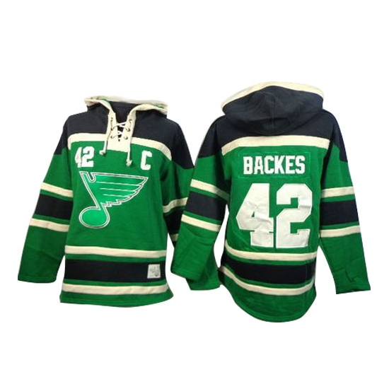 David Backes St. Louis Blues Old Time Hockey Authentic St. Patrick's Day McNary Lace Hoodie Jersey - Green