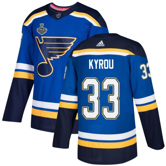 Jordan Kyrou St. Louis Blues Youth Authentic Home 2019 Stanley Cup Final Bound Adidas Jersey - Blue