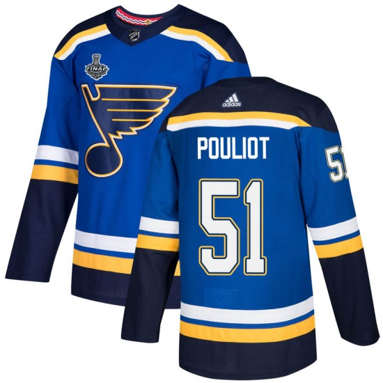 Derrick Pouliot St. Louis Blues Youth Authentic Home 2019 Stanley Cup Final Bound Adidas Jersey - Blue