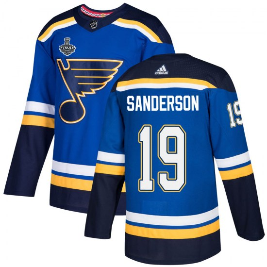 Derek Sanderson St. Louis Blues Youth Authentic Home 2019 Stanley Cup Final Bound Adidas Jersey - Blue