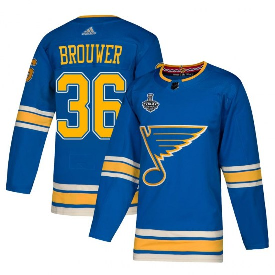 Troy Brouwer St. Louis Blues Authentic Alternate 2019 Stanley Cup Final Bound Adidas Jersey - Blue