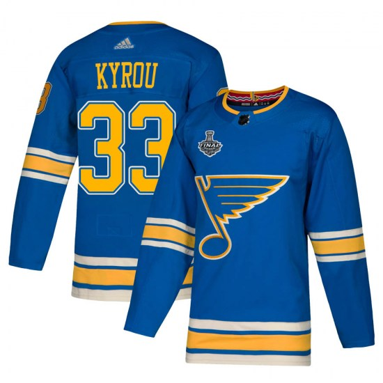 Jordan Kyrou St. Louis Blues Authentic Alternate 2019 Stanley Cup Final Bound Adidas Jersey - Blue