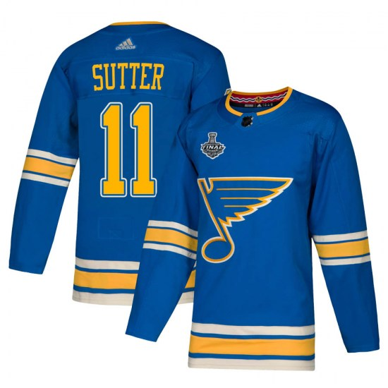 Brian Sutter St. Louis Blues Authentic Alternate 2019 Stanley Cup Final Bound Adidas Jersey - Blue