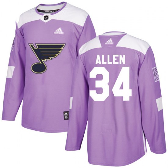 Jake Allen St. Louis Blues Youth Authentic Hockey Fights Cancer Adidas Jersey - Purple