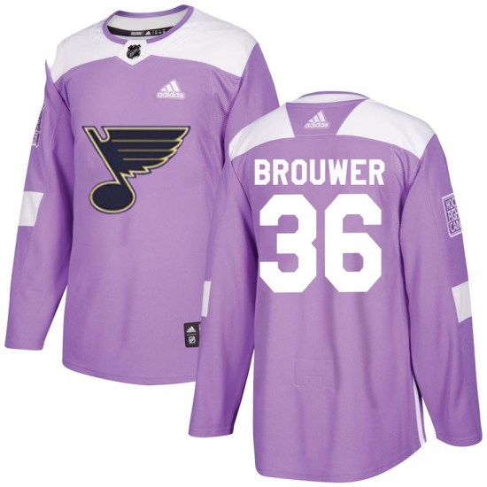 Troy Brouwer St. Louis Blues Youth Authentic Hockey Fights Cancer Adidas Jersey - Purple
