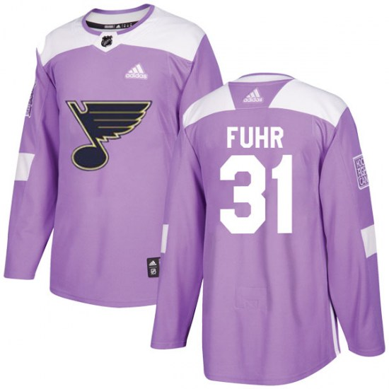 Grant Fuhr St. Louis Blues Youth Authentic Hockey Fights Cancer Adidas Jersey - Purple