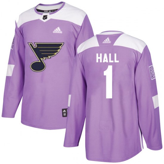 Glenn Hall St. Louis Blues Youth Authentic Hockey Fights Cancer Adidas Jersey - Purple