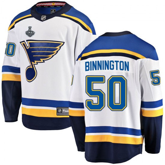 Jordan Binnington St. Louis Blues Youth Breakaway Away 2019 Stanley Cup Final Bound Fanatics Branded Jersey - White