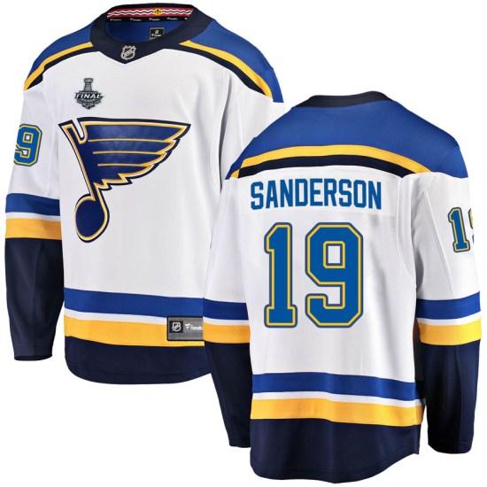 Derek Sanderson St. Louis Blues Youth Breakaway Away 2019 Stanley Cup Final Bound Fanatics Branded Jersey - White