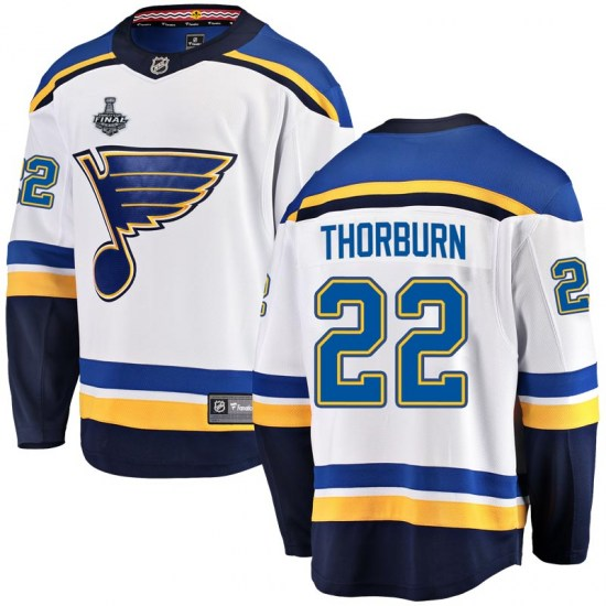 Chris Thorburn St. Louis Blues Youth Breakaway Away 2019 Stanley Cup Final Bound Fanatics Branded Jersey - White