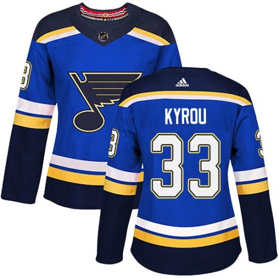 Jordan Kyrou St. Louis Blues Women's Authentic Home Adidas Jersey - Blue