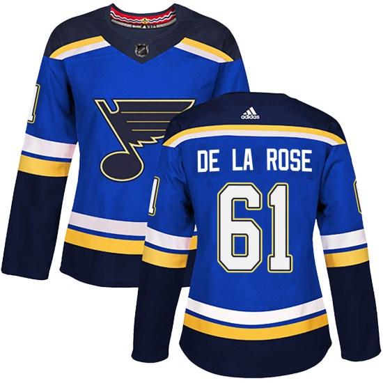 Jacob De La Rose St. Louis Blues Women's Authentic Home Adidas Jersey - Blue