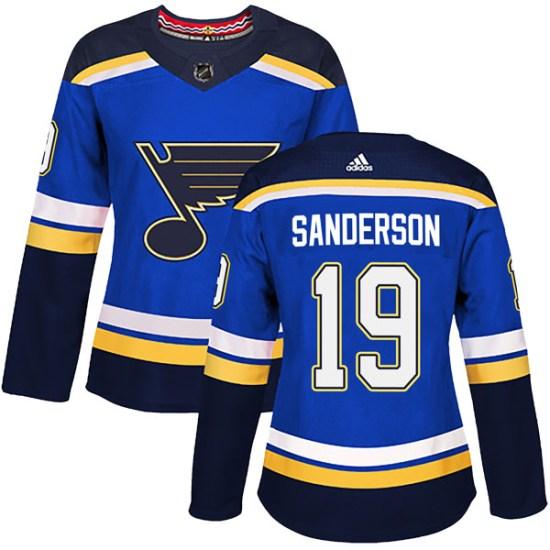 Derek Sanderson St. Louis Blues Women's Authentic Home Adidas Jersey - Blue