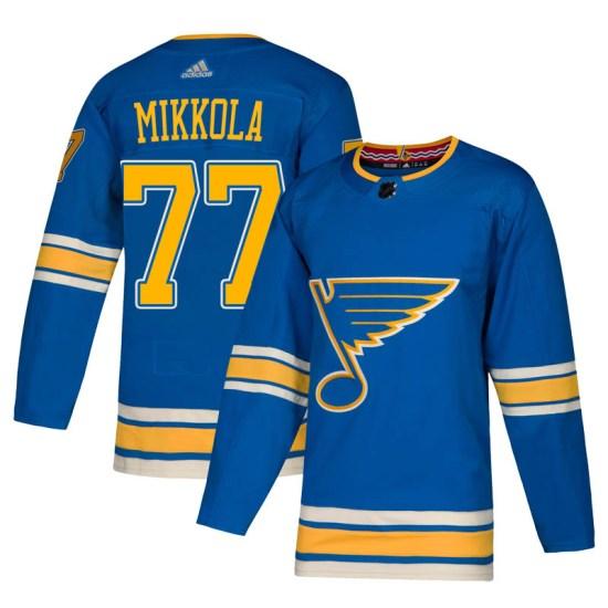 Niko Mikkola St. Louis Blues Authentic Alternate Adidas Jersey - Blue