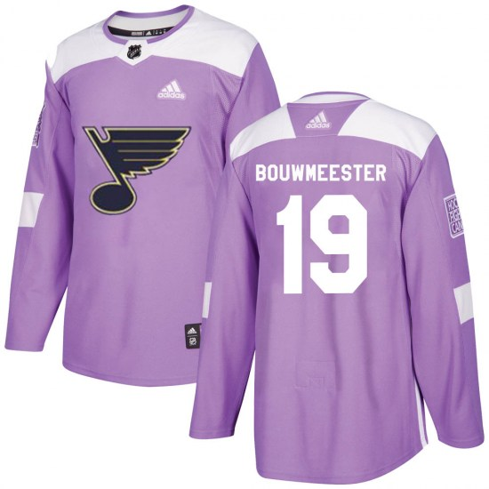 Jay Bouwmeester St. Louis Blues Authentic Hockey Fights Cancer Adidas Jersey - Purple