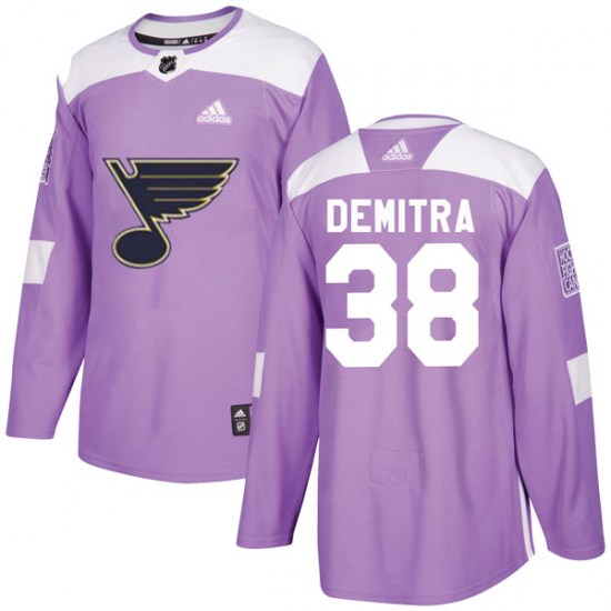 Pavol Demitra St. Louis Blues Authentic Hockey Fights Cancer Adidas Jersey - Purple