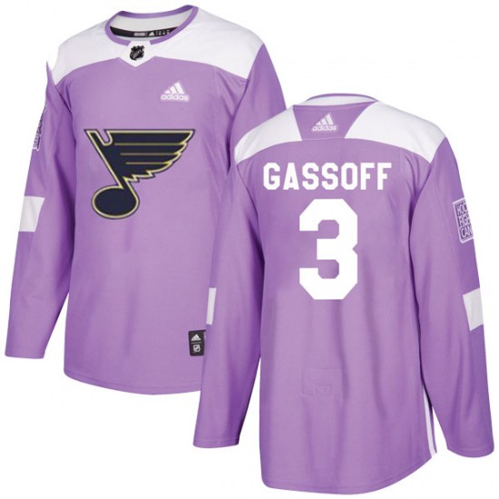 Bob Gassoff St. Louis Blues Authentic Hockey Fights Cancer Adidas Jersey - Purple