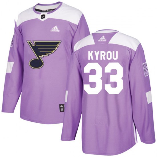 Jordan Kyrou St. Louis Blues Authentic Hockey Fights Cancer Adidas Jersey - Purple