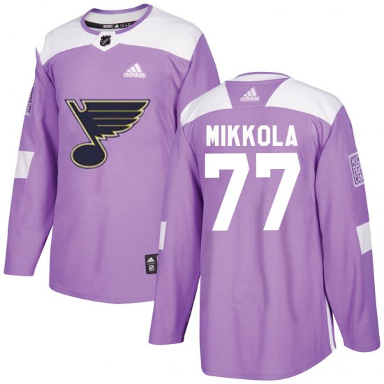 Niko Mikkola St. Louis Blues Authentic Hockey Fights Cancer Adidas Jersey - Purple