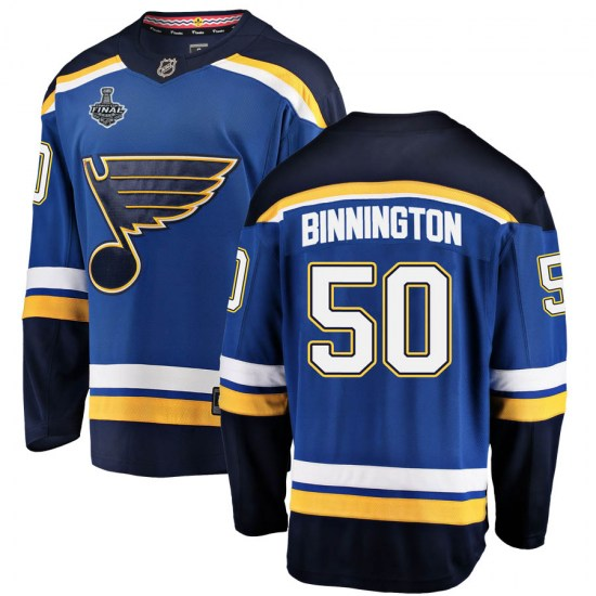 Jordan Binnington St. Louis Blues Youth Breakaway Home 2019 Stanley Cup Final Bound Fanatics Branded Jersey - Blue