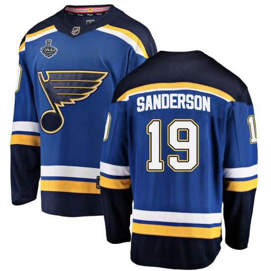 Derek Sanderson St. Louis Blues Youth Breakaway Home 2019 Stanley Cup Final Bound Fanatics Branded Jersey - Blue
