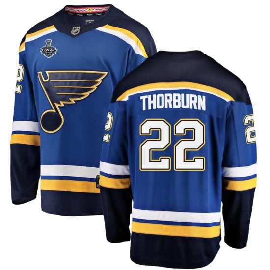Chris Thorburn St. Louis Blues Youth Breakaway Home 2019 Stanley Cup Final Bound Fanatics Branded Jersey - Blue