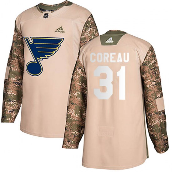 Jared Coreau St. Louis Blues Youth Authentic Veterans Day Practice Adidas Jersey - Camo