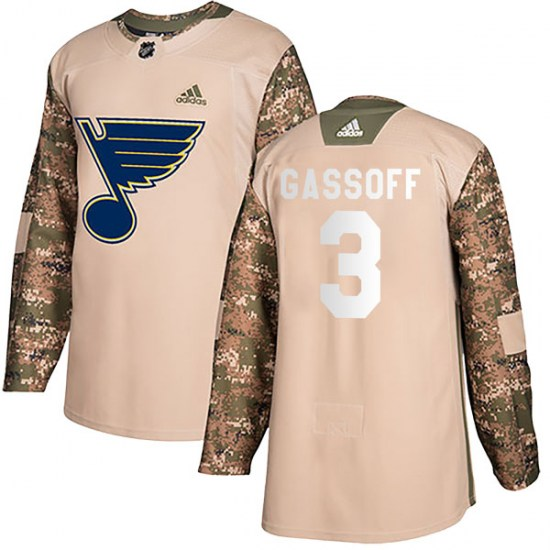 Bob Gassoff St. Louis Blues Youth Authentic Veterans Day Practice Adidas Jersey - Camo