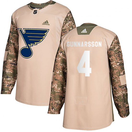 Carl Gunnarsson St. Louis Blues Youth Authentic Veterans Day Practice Adidas Jersey - Camo