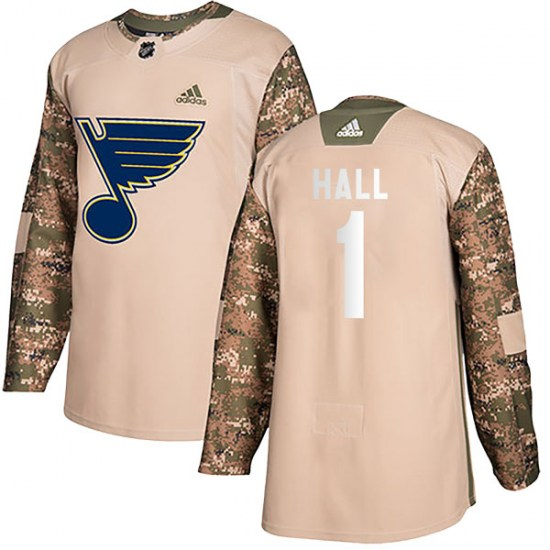 Glenn Hall St. Louis Blues Youth Authentic Veterans Day Practice Adidas Jersey - Camo