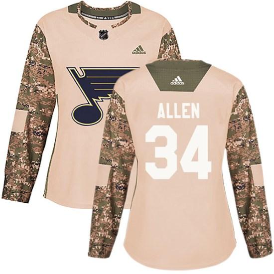 Jake Allen St. Louis Blues Women's Authentic Veterans Day Practice Adidas Jersey - Camo