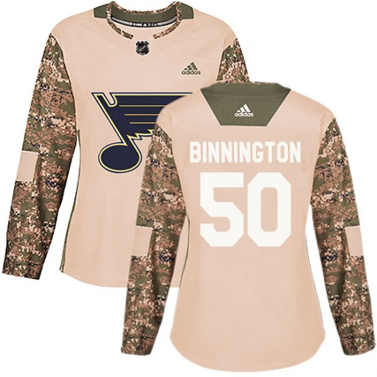 Jordan Binnington St. Louis Blues Women's Authentic Veterans Day Practice Adidas Jersey - Camo