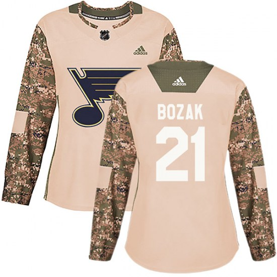 Tyler Bozak St. Louis Blues Women's Authentic Veterans Day Practice Adidas Jersey - Camo