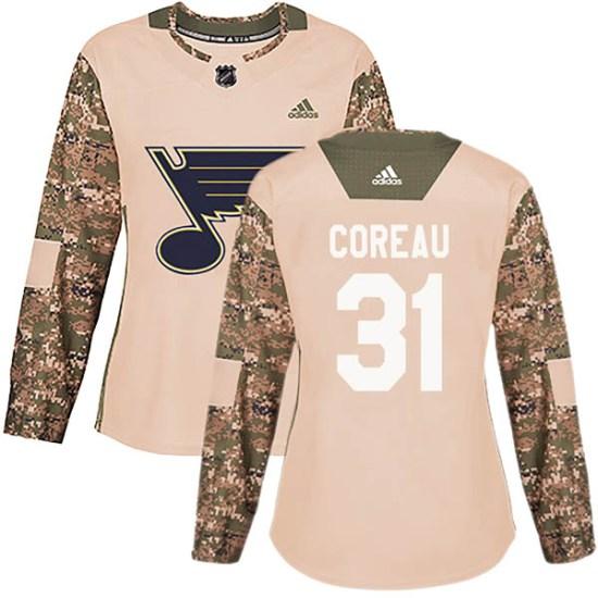 Jared Coreau St. Louis Blues Women's Authentic Veterans Day Practice Adidas Jersey - Camo