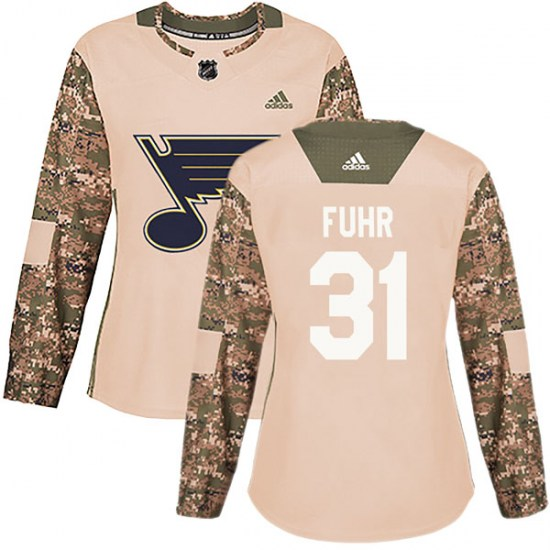 Grant Fuhr St. Louis Blues Women's Authentic Veterans Day Practice Adidas Jersey - Camo