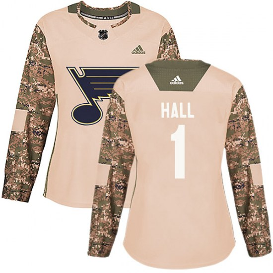 Glenn Hall St. Louis Blues Women's Authentic Veterans Day Practice Adidas Jersey - Camo