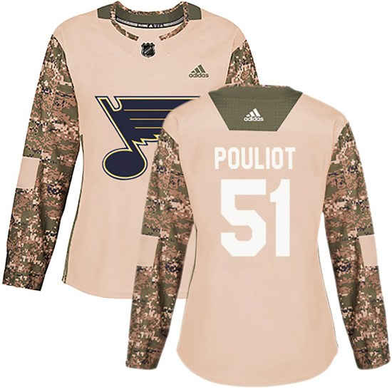 Derrick Pouliot St. Louis Blues Women's Authentic Veterans Day Practice Adidas Jersey - Camo