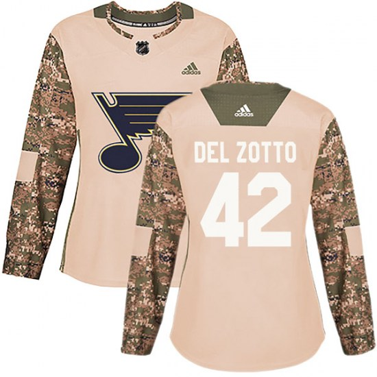 Michael Del Zotto St. Louis Blues Women's Authentic Veterans Day Practice Adidas Jersey - Camo