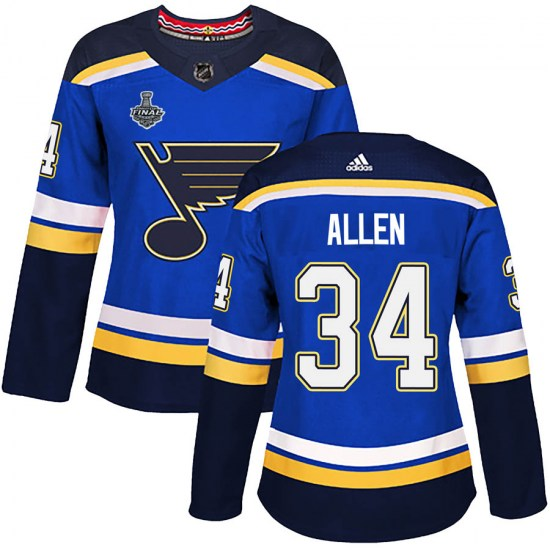 Jake Allen St. Louis Blues Women's Authentic Home 2019 Stanley Cup Final Bound Adidas Jersey - Blue