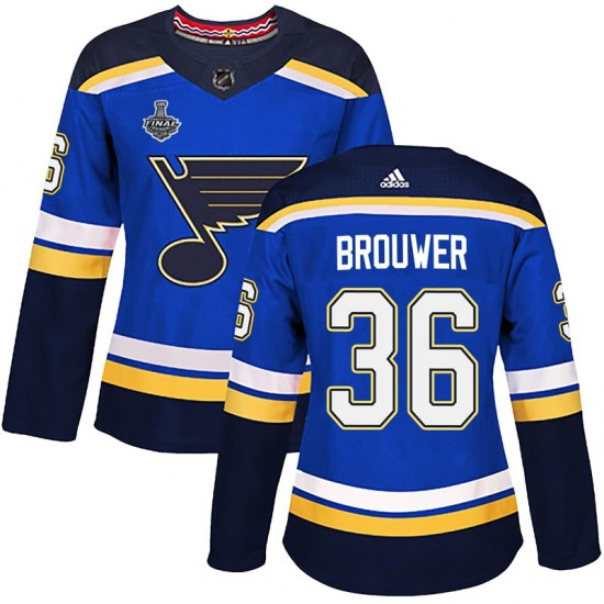 Troy Brouwer St. Louis Blues Women's Authentic Home 2019 Stanley Cup Final Bound Adidas Jersey - Blue