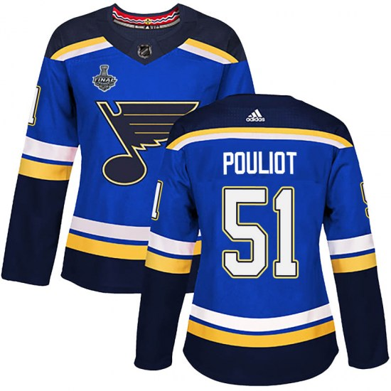 Derrick Pouliot St. Louis Blues Women's Authentic Home 2019 Stanley Cup Final Bound Adidas Jersey - Blue