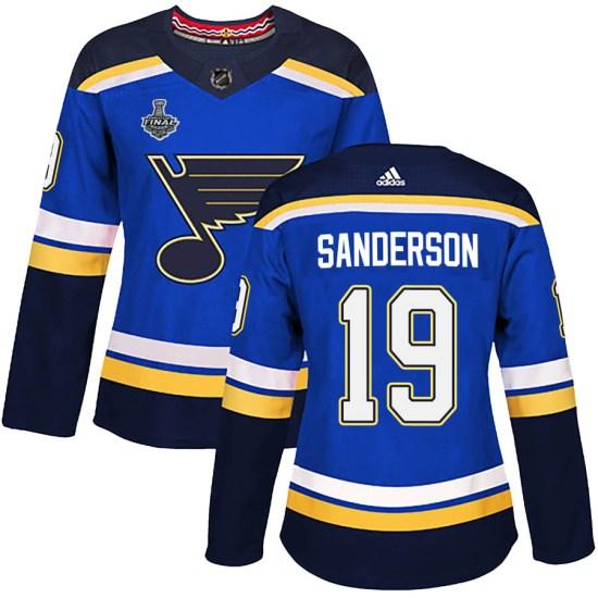 Derek Sanderson St. Louis Blues Women's Authentic Home 2019 Stanley Cup Final Bound Adidas Jersey - Blue
