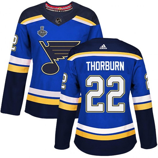 Chris Thorburn St. Louis Blues Women's Authentic Home 2019 Stanley Cup Final Bound Adidas Jersey - Blue