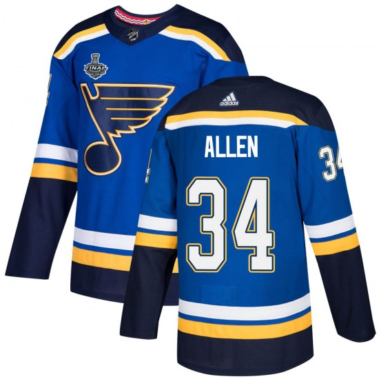 Jake Allen St. Louis Blues Authentic Home 2019 Stanley Cup Final Bound Adidas Jersey - Blue