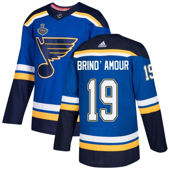 Rod Brind'amour St. Louis Blues Authentic Rod Brind'Amour Home 2019 Stanley Cup Final Bound Adidas Jersey - Blue