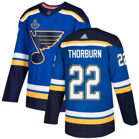 Chris Thorburn St. Louis Blues Authentic Home 2019 Stanley Cup Final Bound Adidas Jersey - Blue