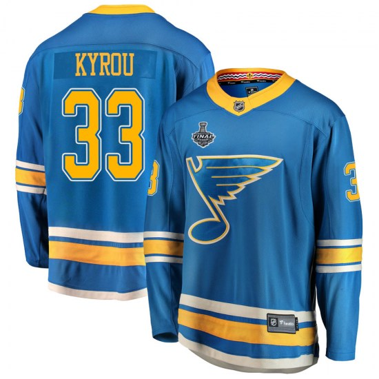 Jordan Kyrou St. Louis Blues Breakaway Alternate 2019 Stanley Cup Final Bound Fanatics Branded Jersey - Blue