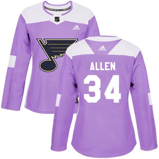 Jake Allen St. Louis Blues Women's Authentic Hockey Fights Cancer Adidas Jersey - Purple